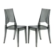 LeisureMod Coral Side Chair (Set of 2); Transparent Black