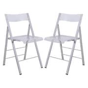 LeisureMod Menno Mo Folding Chair (Set of 2); Transparent Clear