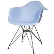 New Pacific Direct Carl Arm Chair with Metal Wire Legs (Set of 2); Blue