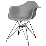 New Pacific Direct Carl Arm Chair with Metal Wire Legs (Set of 2); Gray