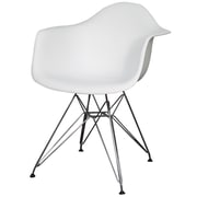 New Pacific Direct Carl Arm Chair with Metal Wire Legs (Set of 2); White
