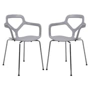 LeisureMod Carney Arm Chair (Set of 2); Light Gray