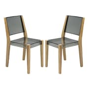 LeisureMod Barker Side Chair (Set of 2); Transparent Black