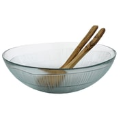 French Home Recycled Glass Salad Bowl w/ Server Set; Clear