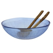French Home Recycled Glass Salad Bowl with Server Set; Sapphire Blue