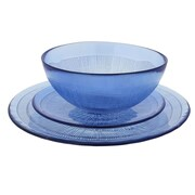 French Home Recycled Glass 12 Piece Dinnerware Set; Sapphire Blue