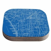 KESS InHouse Los Angeles Streets Map Coaster (Set of 4)