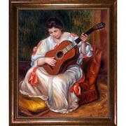 La Pastiche Woman Playing the Guitar, 1896 by Renoir Framed Painting Print on Canvas