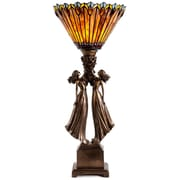 River of Goods Art Deco Table Top Torchiere Tiffany Style Stained Glass 27'' H Table Lamp