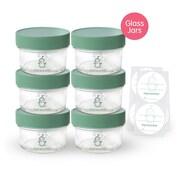 Sage Spoonfuls 6 Piece Glass Baby Food Storage Jar Set with Labels