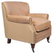 Joseph Allen Antique Linen and Leather Occasional Club Chair