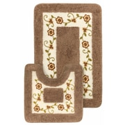Crover 15 Piece Floral Bath Mat and Shower Curtain Set; Brown