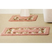 Crover 15 Piece Floral Bath Mat and Shower Curtain Set; Pink