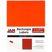 "JAM Paper® Address Labels, Small 1"" x 2.625"", 30 labels per page, Neon Fluorescent Red, 120/Pack (354328230)"