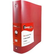 "JAM Paper® Designders Plastic 3-Ring Binder, 2""W, Red (820T2rd)"