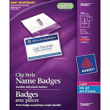 Avery® 74461 Garment Friendly™ Clip Style Name Badges 74461, 2-1/4
