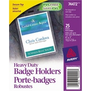 "Avery® 74472 Heavy-Duty Badge Holders for Inserts up to 4"" x 3"", 25/Pack"