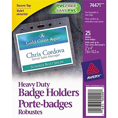 Avery® 74471 Heavy-Duty Badge Holders for Inserts up to 3