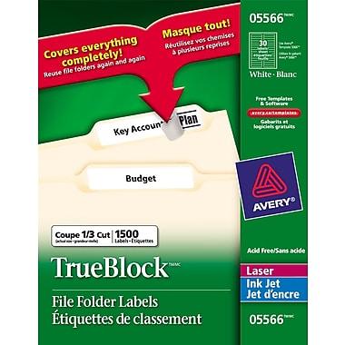 Avery® - Étiquettes de classement 5566 permanentes jet d'encre/laser avec TrueBlock™, blanc, paq./1500