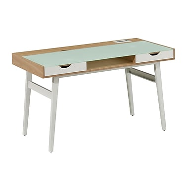 Brassex CT-3552 Office Desk with Tempered Glass Top and 2 Storage Drawers, White & Oak, 51
