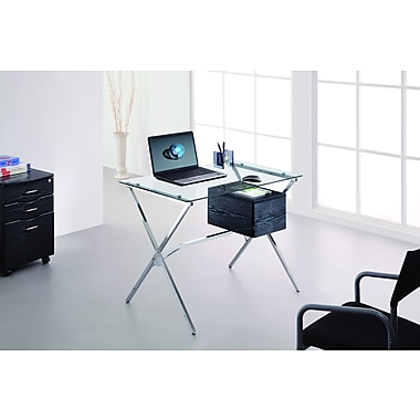 Brassex CT-368 Office Desk with Tempered Glass Top and Storage Drawer, Silver, 39