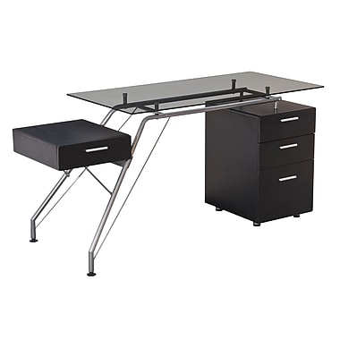 Brassex CT-3305B Office Desk with Tempered Glass Top and 4 Storage Drawers, Espresso, 62