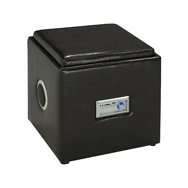 Brassex 583-ESP Storage Ottoman with Reverse Tray and Audio, Espresso, 16
