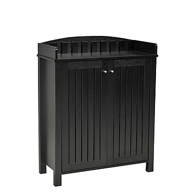 Brassex 151154-BK Shoe Cabinet with Top Border, Black, 31.25