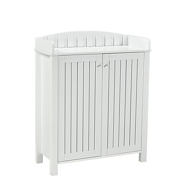 Brassex 151154-WH Shoe Cabinet with Top Border, White, 31.25