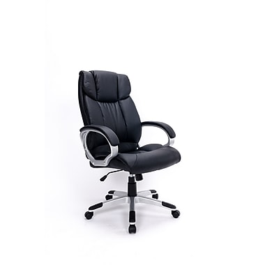 Brassex 2955-BK Office Chair with Gas Lift and Tilt Mechanism, Black, 26