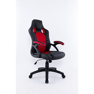 Brassex 9157-RD Office Chair with Gas Lift and Tilt Mechanism, Red/Black, 23