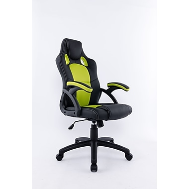 Brassex 9157-GR Office Chair with Gas Lift and Tilt Mechanism, Green/Black, 23