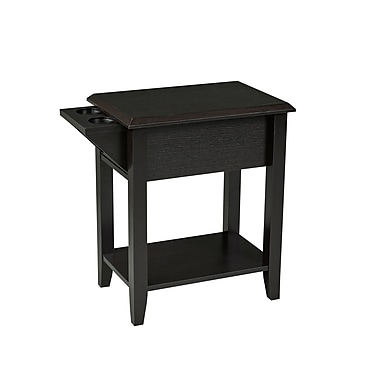 Brassex 151100-ESP Telephone Stand with Storage Drawer and 2 Cupholders, 13.75