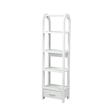 Brassex 14905-W 4-Tier Display Shelf with Storage Drawer, 17.25