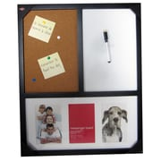 "AZ Home & Gifts Combination Bulletin/Magnetic White Board, 17""x21"", Wood Frame, Matted for 3-4x6"""