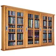 Leslie Dame Triple Door Wall Mounted Multimedia Storage Cabinet; Oak