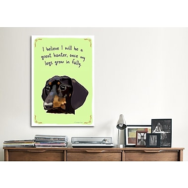 iCanvas Tiny Confessions Growing Dochshund by Christopher Rozzi Painting Print on Wrapped Canvas