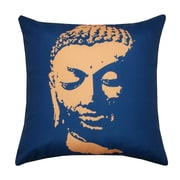 Divine Designs Buddha Face Indoor/Outdoor Throw Pillow; Navy