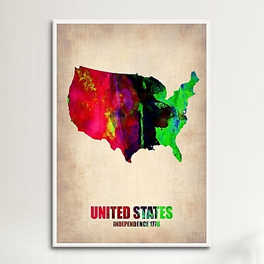 iCanvas USA Watercolor Map II by Naxart Graphic Art on Canvas; 40'' H x 26'' W x 0.75'' D