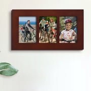 AdecoTrading 3 Opening Wall Hanging Picture Frame; Walnut