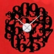 Style and Apply Crazy Numbers Wall Clock Wall Decal; Dark Red