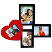 AdecoTrading 4 Opening Decorative Wall Hanging Collage Picture Frame; Black/Red