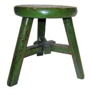 Asian Loft Small Wood Foot Stool; Green