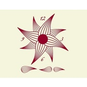 Style and Apply Flower Wall Clock Wall Decal; Dark Red
