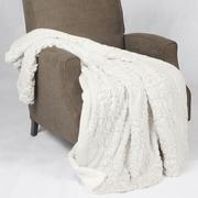 BOON Throw & Blanket Batik Faux Fur Sherpa Throw Blanket; White Grape