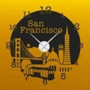 Style and Apply San Francisco Wall Clock Wall Decal; Gold