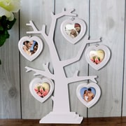 AdecoTrading 5 Opening Decorative Beveled Hearts Table Desk Top Tree Picture Frame; White