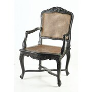 AA Importing Cane Arm Chair; Black