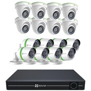 Ezviz Bd-1g2ga3 16-channel 1080p Analog System With 3tb Hard Drive & 8 Bullet & 8 Dome Weatherproof Cameras