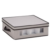 "Honey Can Do Dinnerware Storage Box,  16.5"" x 14.25"" x 5.75"", Gray Canvas - cups"
